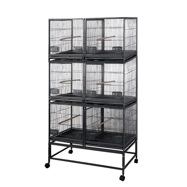 Breeder Bird Cage 3 Divided Units Make 6 Cages by AE LOR4020-3 Black