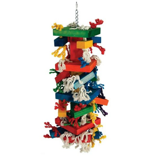 Giant Sisal Knots 'n Blocks Wood and Rope Bird Toy by Paradise