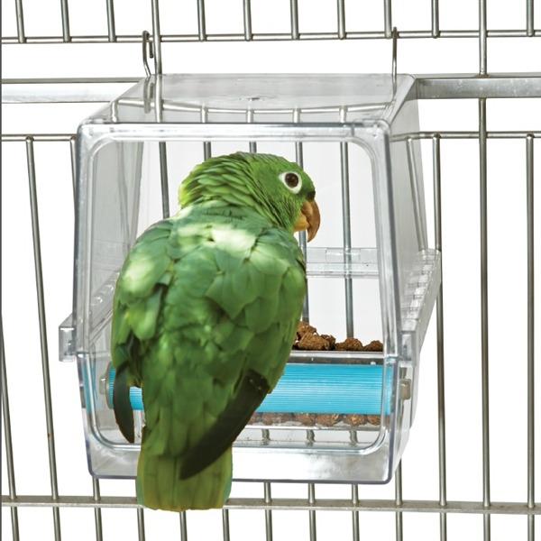 Seed Corral Bird Cafe Mess Less Pet Bird Feeder Large