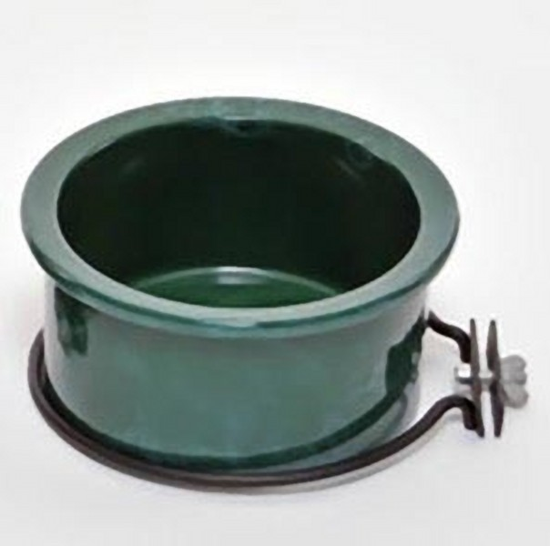 Ceramic Bird Cage Crock And Mounting Ring 24 oz Green Marble