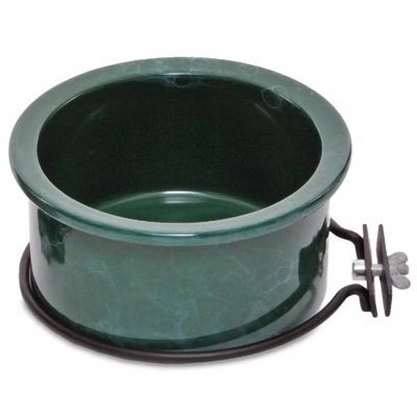 Ceramic Bird Cage Crock and Mounting Ring 8 oz Green Marble