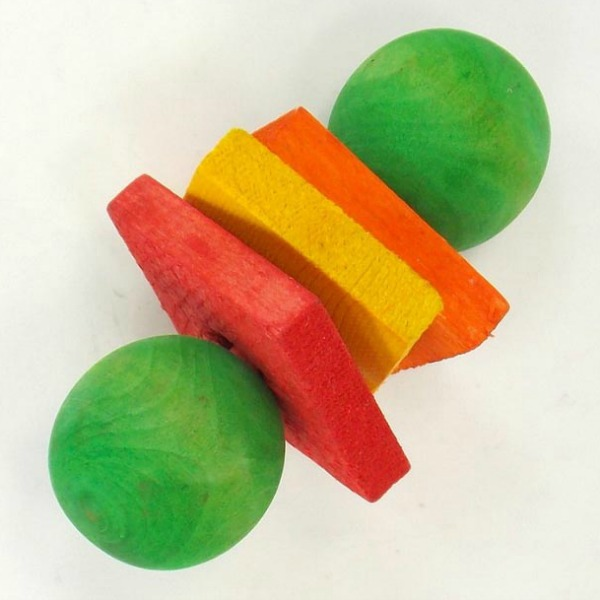 Dumbell Delight Wood Barbell Foot Toy for Birds by Paradise Small