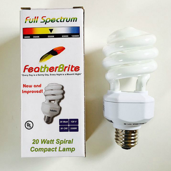 Full Spectrum Featherbrite Spiral Flourescent Light Bulb 20 watt