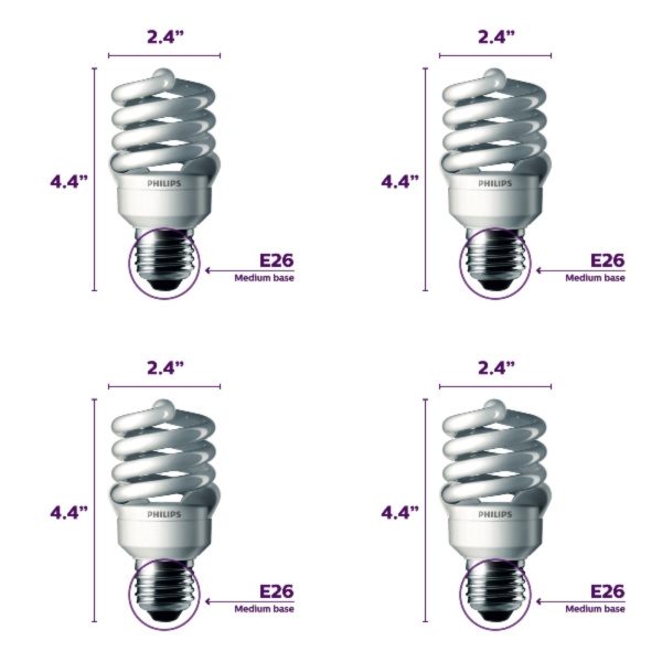Full Spectrum Economy Daylight Bulb 100 Watt (uses 23W) - 4 Pack