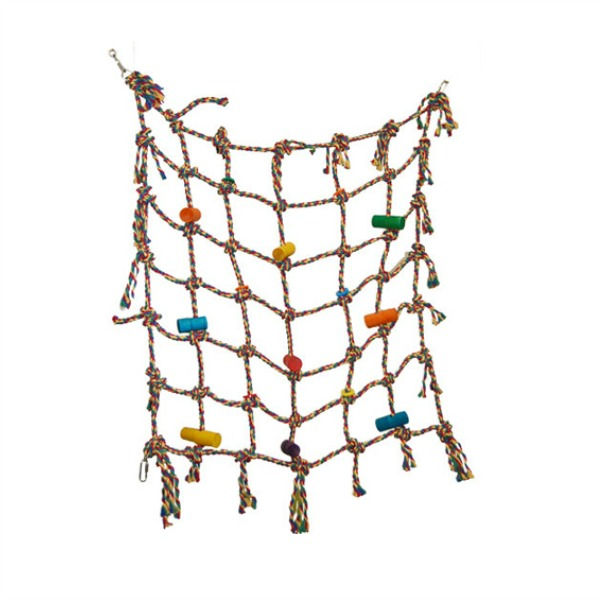 "Bird Climbing Net 30x30 Colored Cotton 3/8"" Rope"