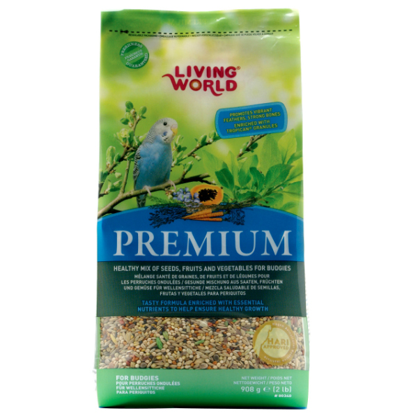 Living World Premium Mix by Hagen Hari Budgie Parakeet 2 lb (1.36 kg)