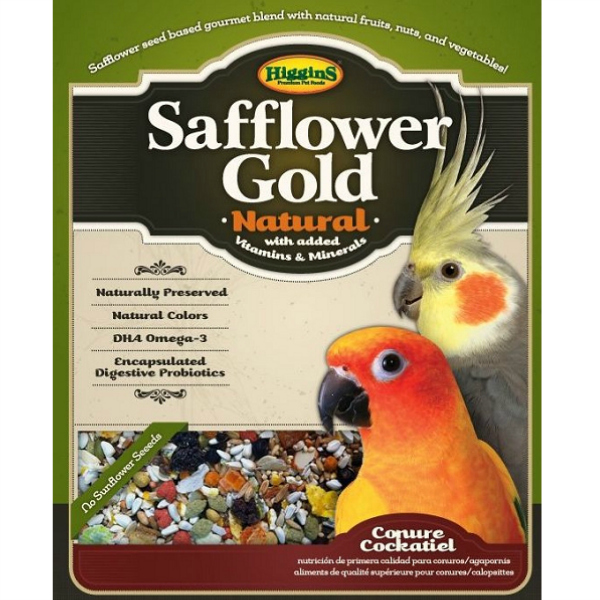 Higgins Safflower Gold Conure Cockatiel No Sunflower 25 lb (11.34 Kg)