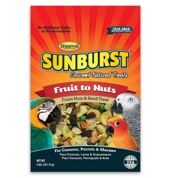 Higgins Sunburst Fruit To Nuts Treat For Birds Large 5 oz (141.75 g)