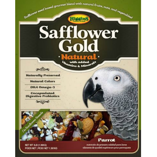 Higgins Safflower Gold Parrot Size No Sunflower 25 lb (11.34 Kg)