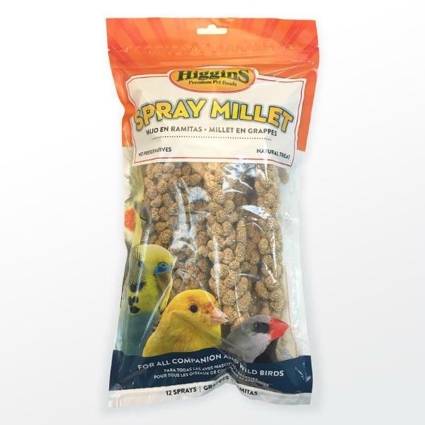 Higgins Naturally Grown Spray Millet for Birds In Sealed Bag 12 Sprays