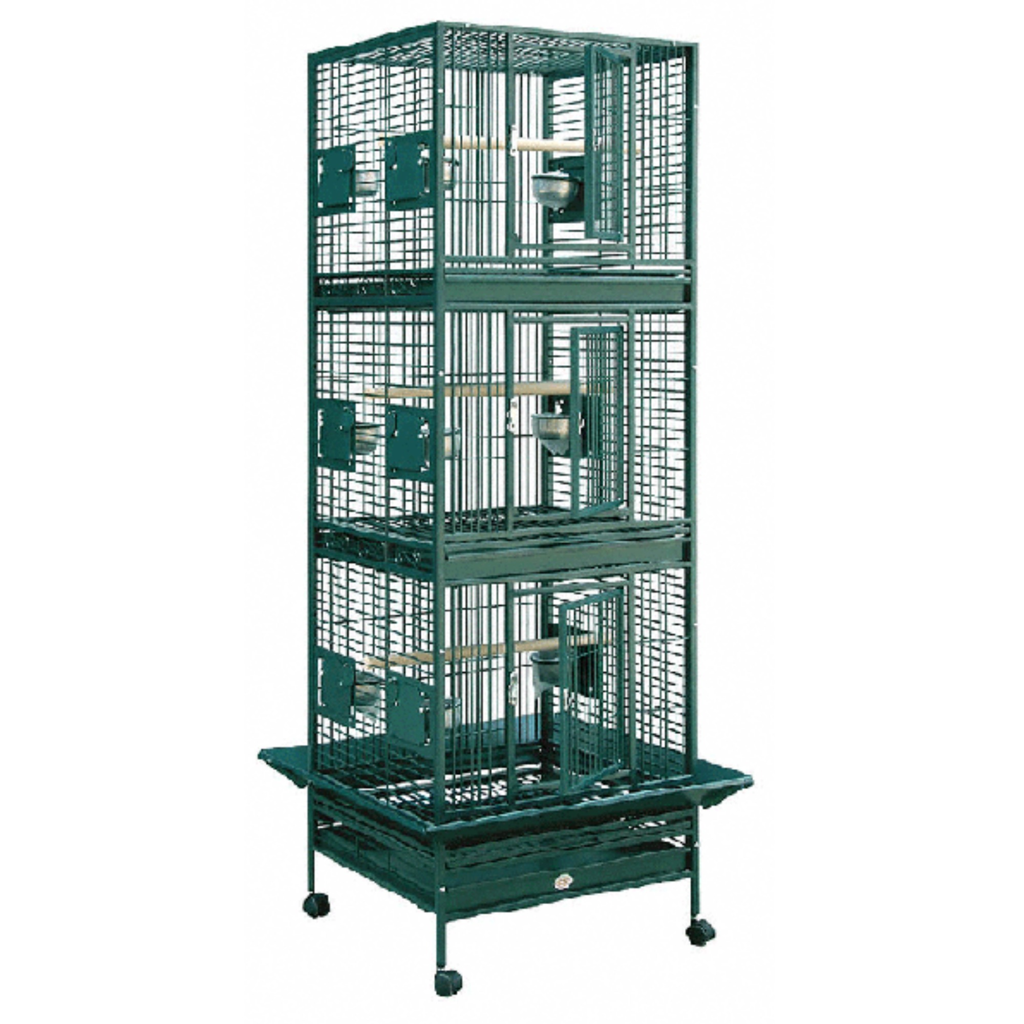 Green Triple Stack Breeding Bird Cage by HQ