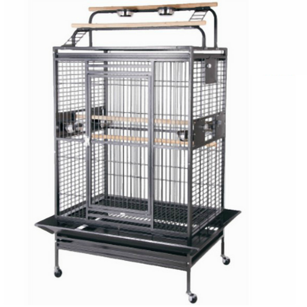 Double Play Top Bird Cage for Large Parrots by HQ 80040 Platinum
