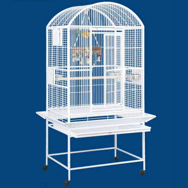 Dome Top Bird Cage for Medium Large Parrots by HQ 90032D Platinum