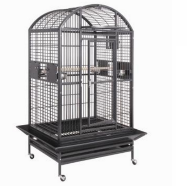 Dome Top Bird Cage for Large Parrots by HQ 90040D Platinum