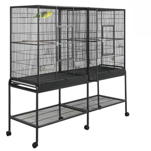 Divided Bird Aviary Cage for Smaller Birds by HQ 16421 Black