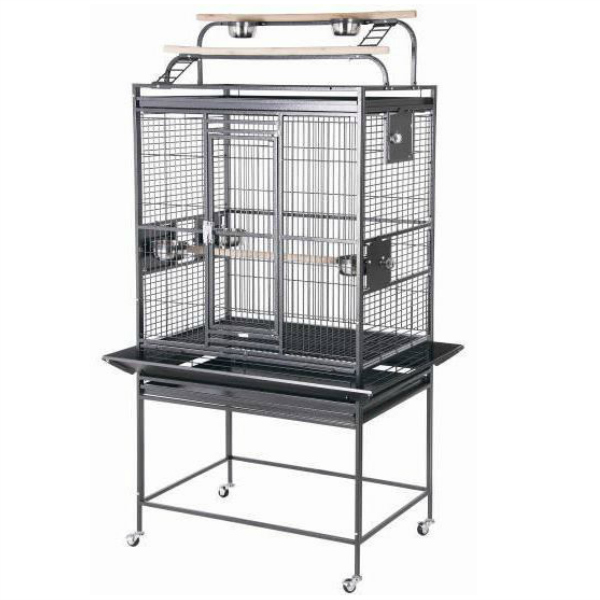 Double Play Top Bird Cage for Medium Parrots by HQ 80032D Black