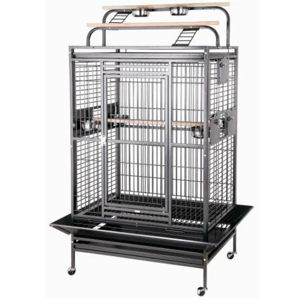Double Play Top Bird Cage for Large Parrots by HQ 80040 Brass