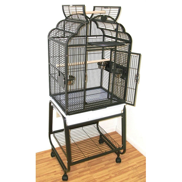 Elegant Bird Cage & Stand W Shelf for Sm Parrots HQ 92217C Brass