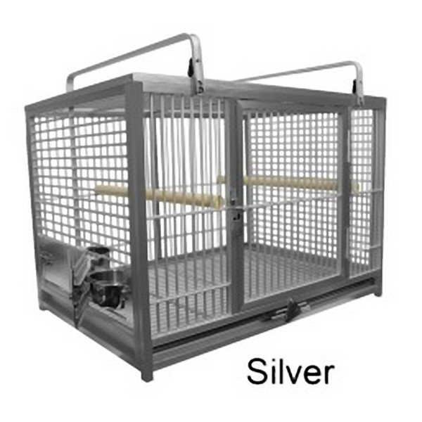 Aluminum Travel Cage for Large Birds by King's Cages Silver ATM2029