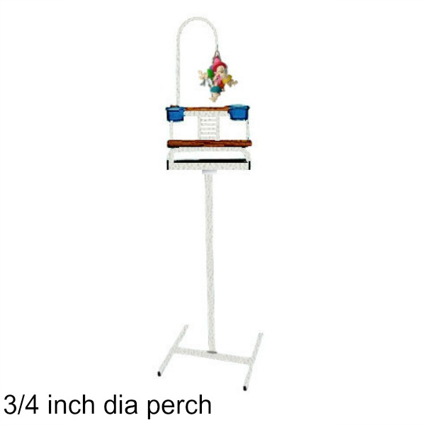 Deluxe Traveler Floor Stand White w 3/4 inch Perch
