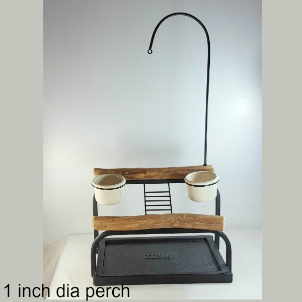 Deluxe Table Top Bird Stand Textured Black w 1 inch Perch
