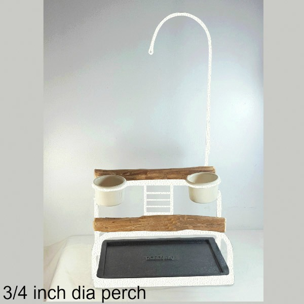 Deluxe Table Top Bird Stand Textured White w 3/4 inch Perch