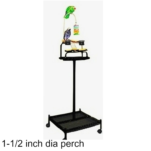 Power Tower Bird Stand Black w 1 1/2 inch Perch