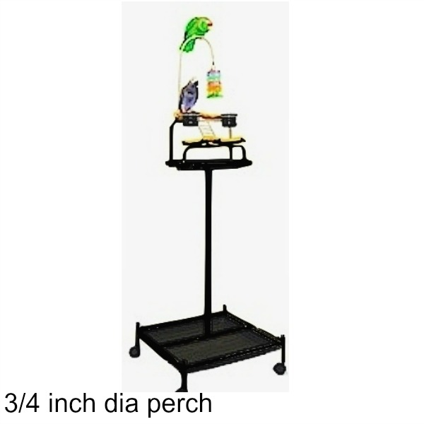 Power Tower Bird Stand Black w 3/4 inch Perch