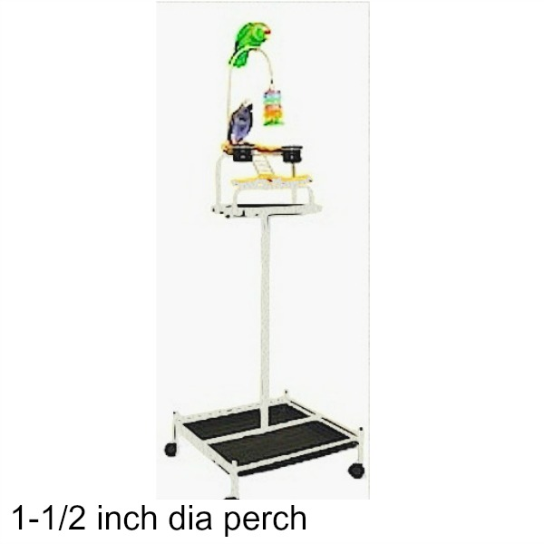 Power Tower Bird Stand White w 1 1/2 inch Perch