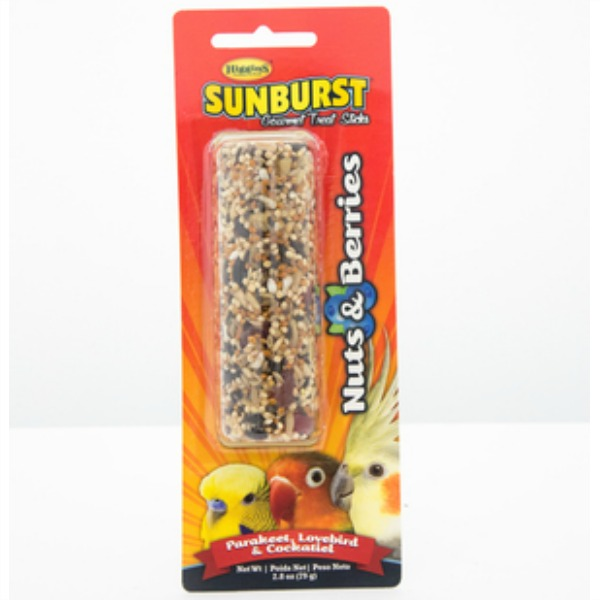 Higgins Sunburst Treat Stick for Small Parrots - Nuts & Berries