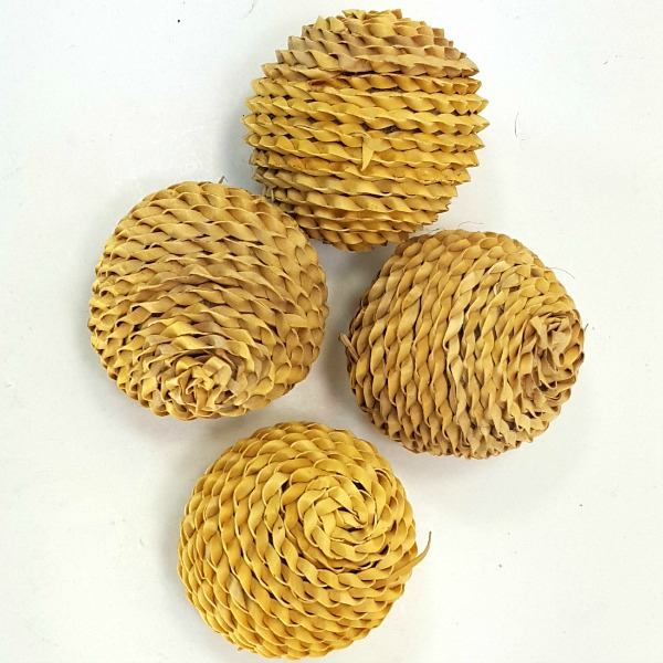 Braided Palm Leaf Munchie Balls For Birds 4 pc