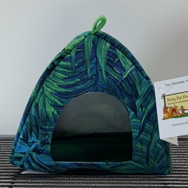 Bird Haven Petite Pet Tent by Kozy Pet Green and Blue Palm
