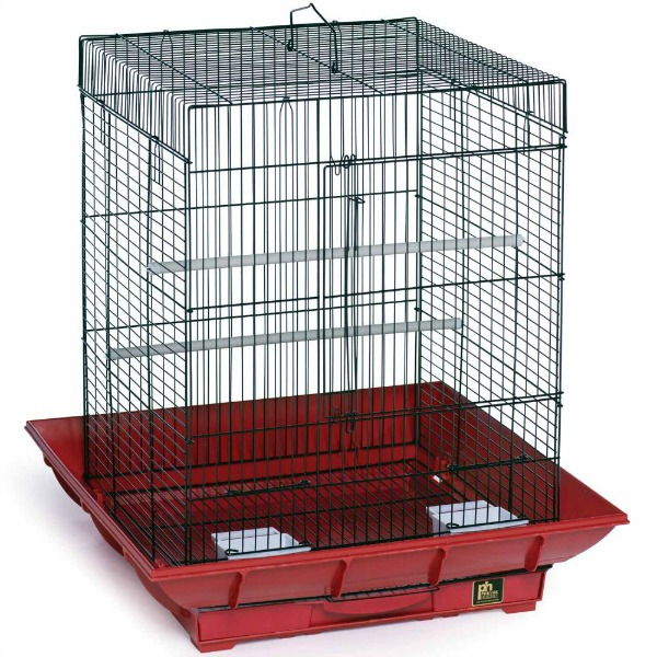 Clean Life Flat Top Bird Cage for Small Birds 850 Red Black
