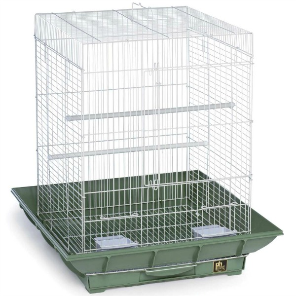 Clean Life Flat Top Bird Cage for Small Birds 850 Green White