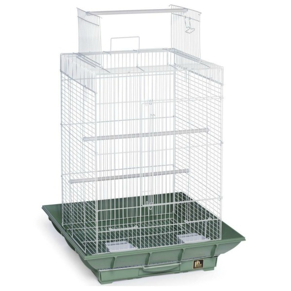 Clean Life Open Top Bird Cage for Small Birds 851 Green White