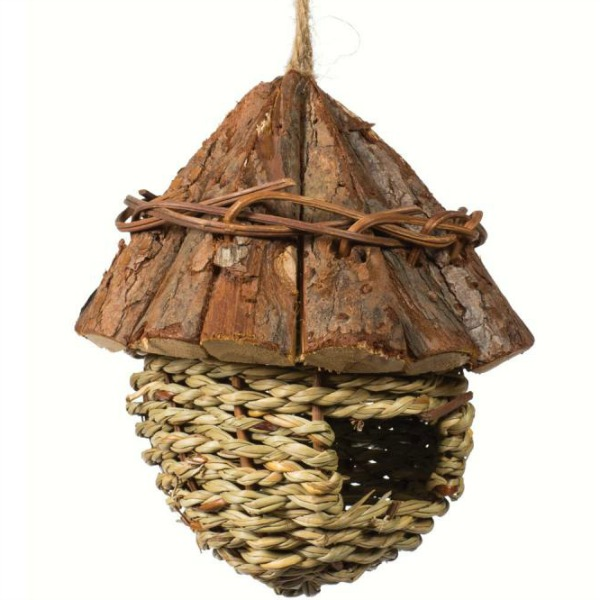 Nest For Finches by Prevue Pet Wood Roof with Fiber