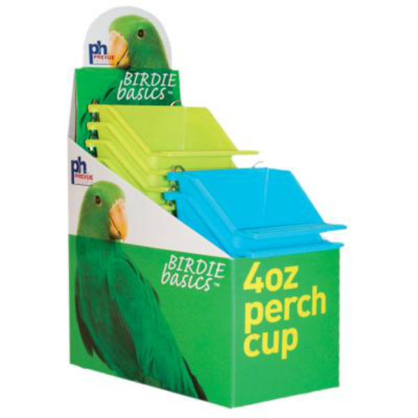 High Back Seed and Water Cup with Landing Perch 4 oz 12 pc box