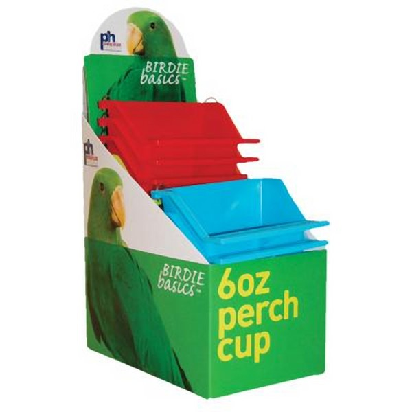 High Back Seed and Water Cup with Landing Perch 6 oz 12 pc box