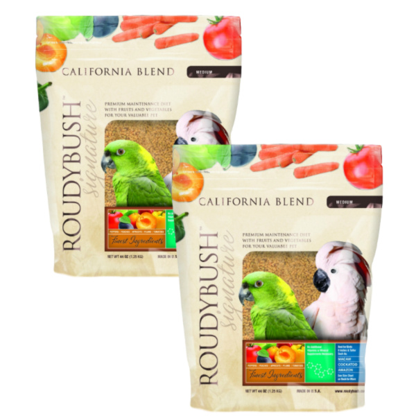 2 PACK Roudybush California Blend Bird Food Pellets Medium 44 oz