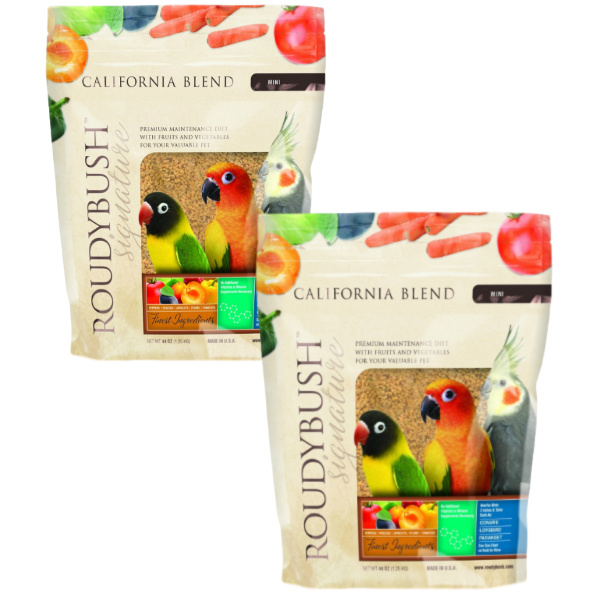 2 PACK Roudybush California Blend Bird Food Pellets Mini 44 oz