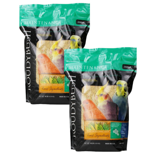 2 PACK Roudybush Daily Maintenance Bird Pellets Crumbles 44 oz