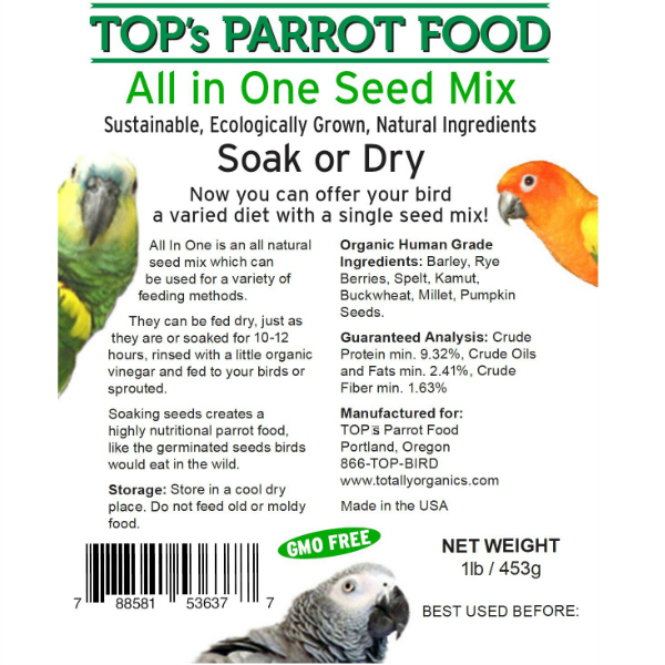 TOPS Bird Seed All in One Soak or Dry Seed Mix 1 lb (.45 kg)