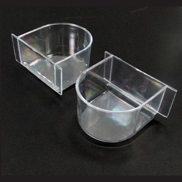 Winged Bird Cage Dish 1220 Clear Plastic by Prevue Pet 2 pc