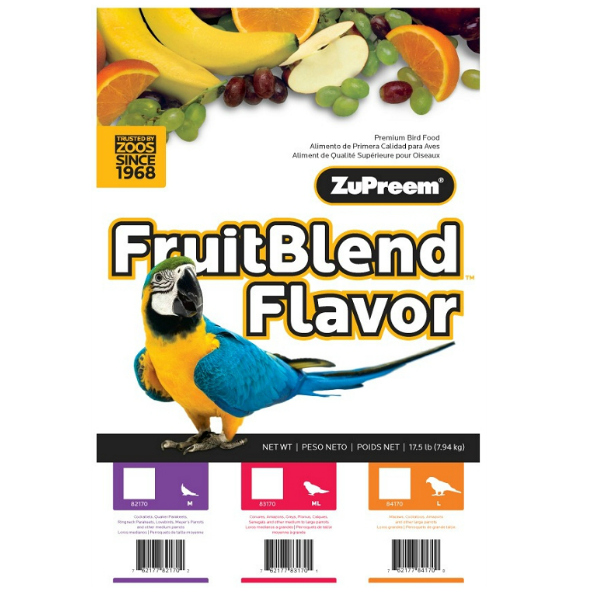 Zupreem Fruit Blend Parrot Conure Avian Maintenance 17.5 lb (7.94 kg)