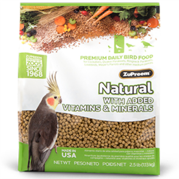 Zupreem Natural Cockatiel Bird Food Pellets 2.5 lb (1.13 kg)