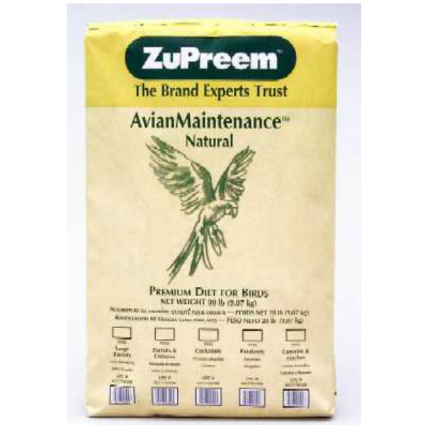 Zupreem Natural Large Bird Food Pellets 20 lb
