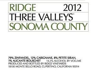 2012 Ridge Three Valleys ($23) 89 points