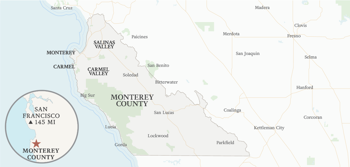 Monterey County California Map.Monterey County Wine Country 2018 S Top Attractions