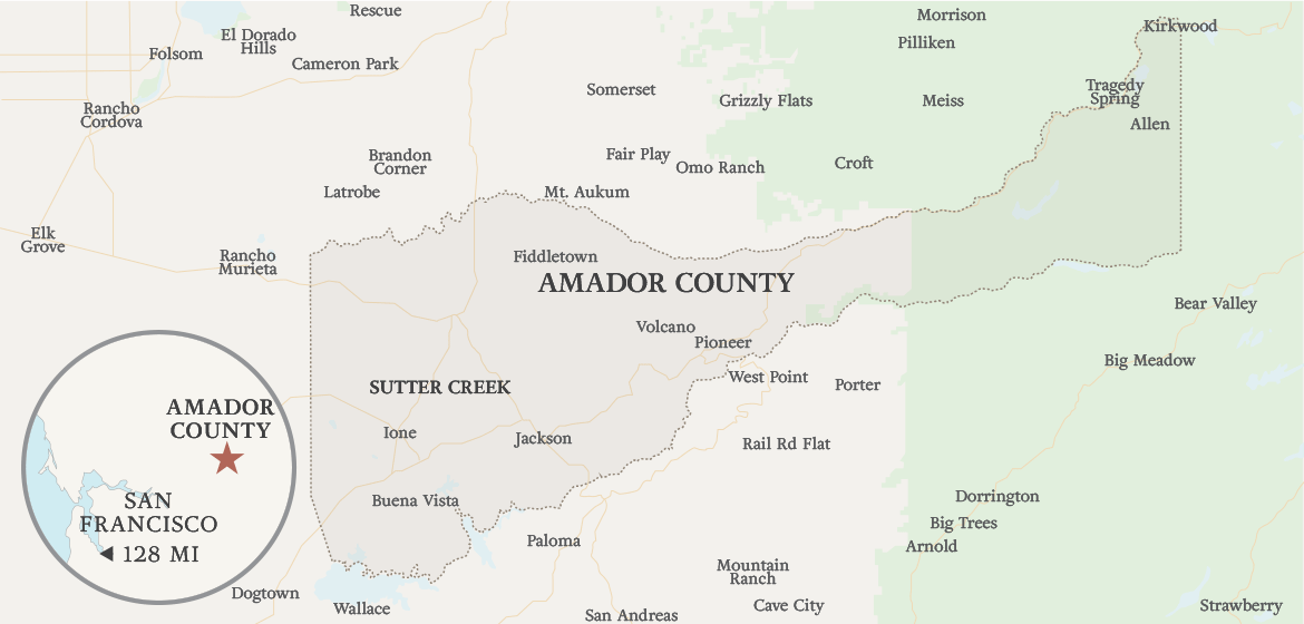 Map of Amador County