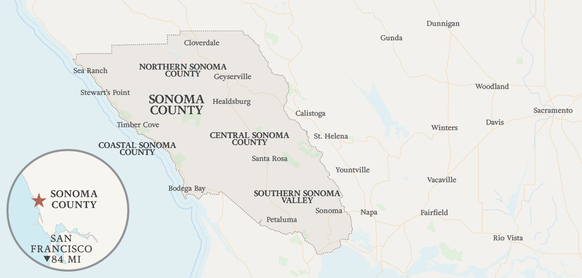 Map of Sonoma County, CA